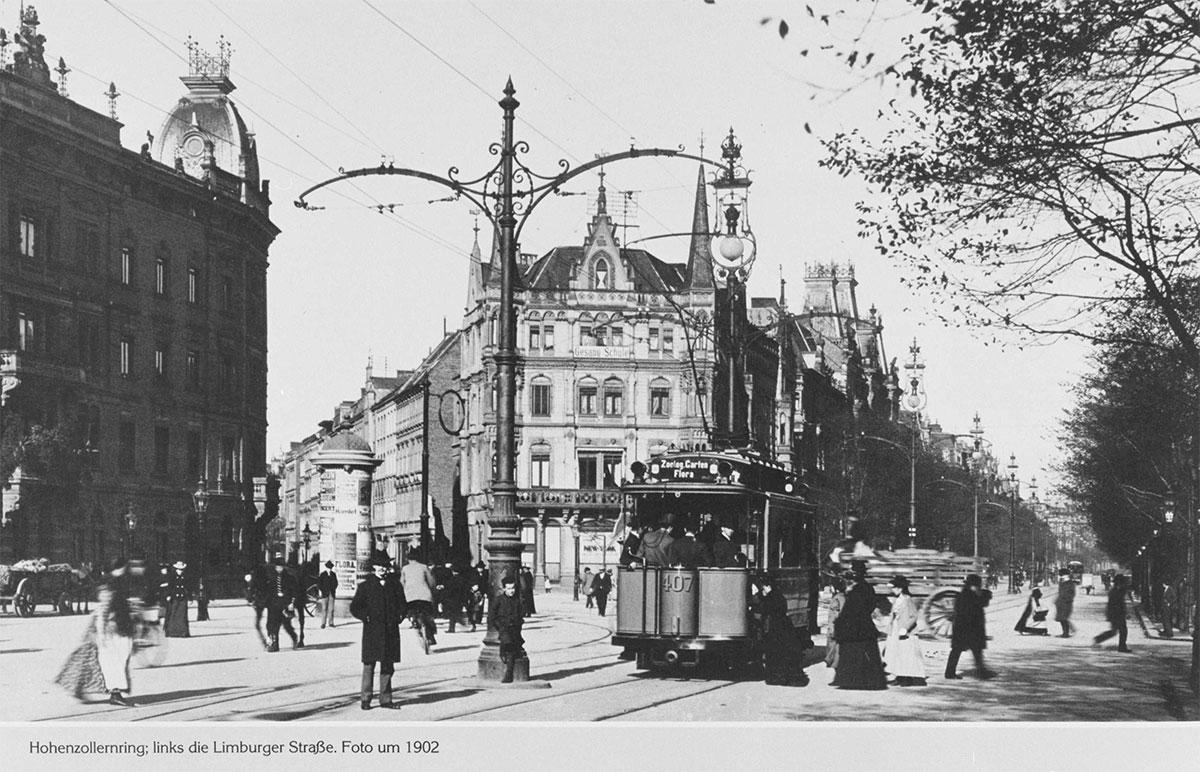 Bahn auf dem Hohenzollernring um 1902