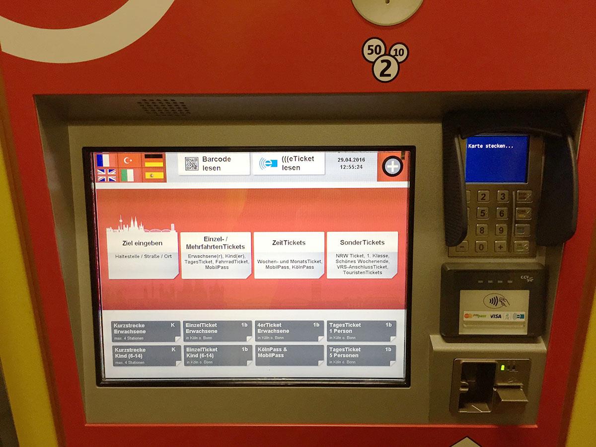 Startbildschirm der neuen Ticketautomaten
