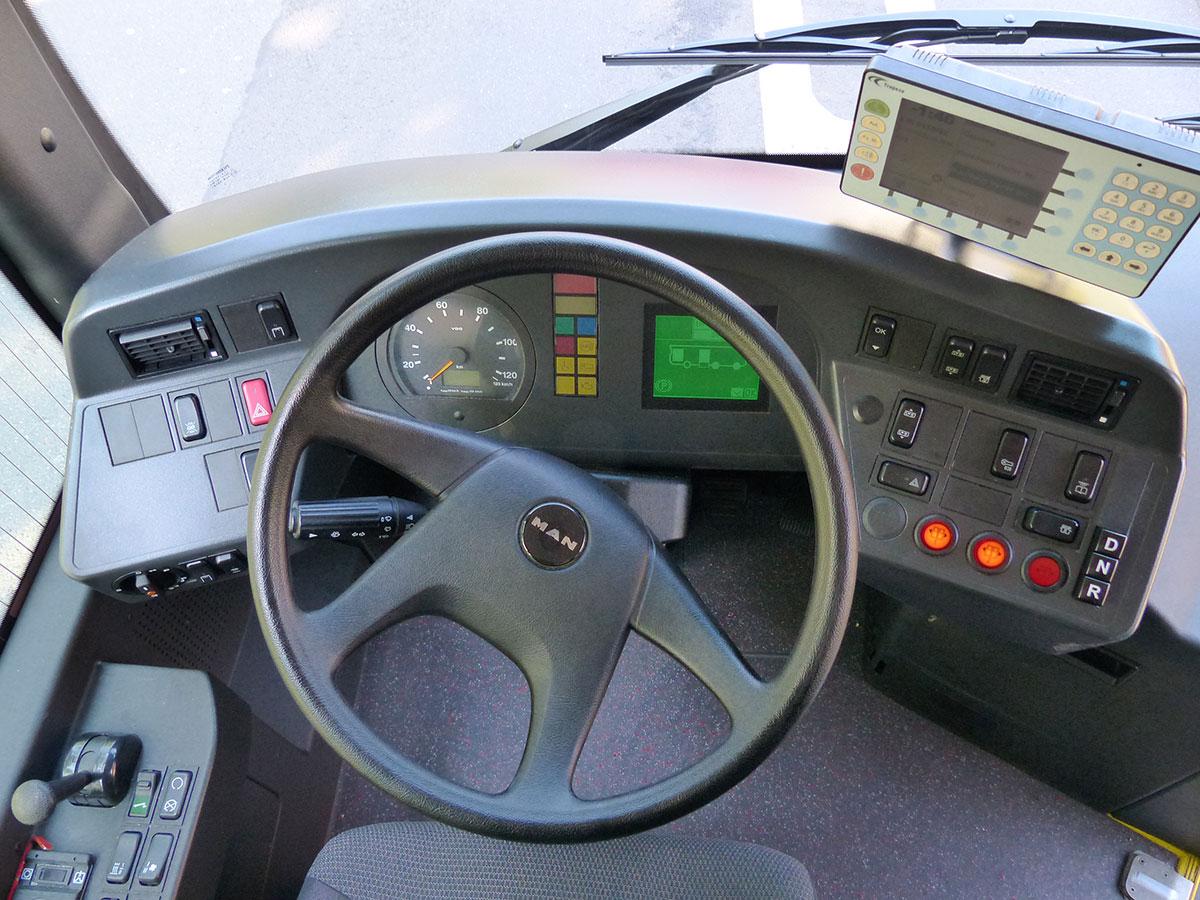 Arbeitsplatz eines Busfahrers