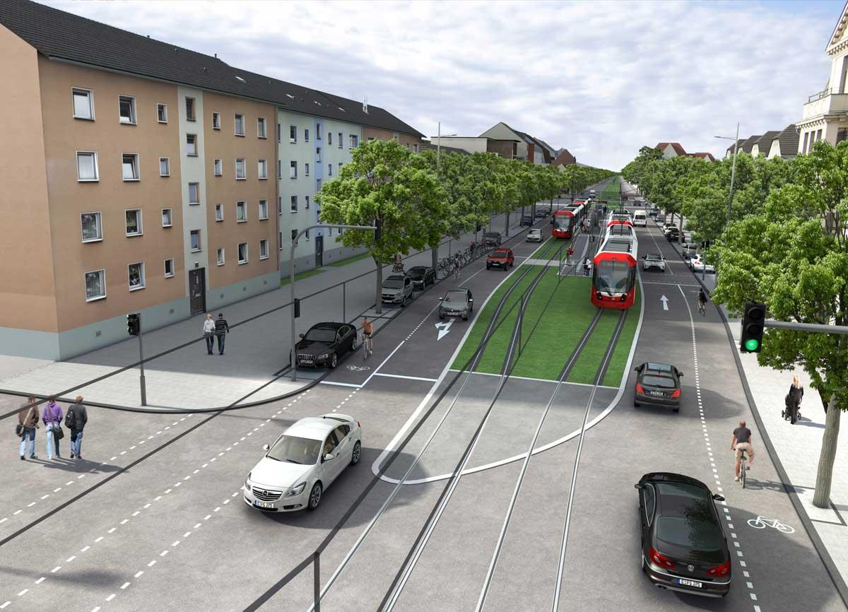 Visualisierung des Bereichs Cäsarstraße