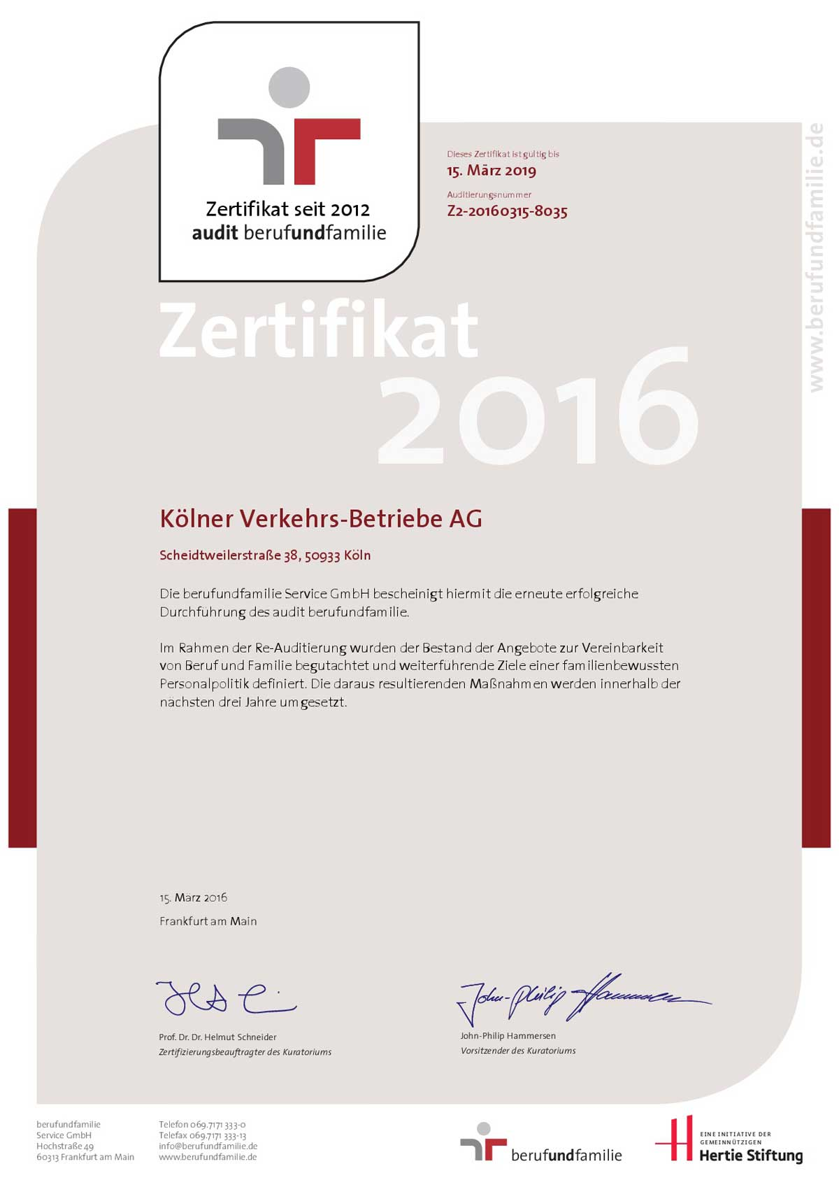 Zertifikat des zweiten Audits, das der KVB am 23. Juni verliehen wurde.