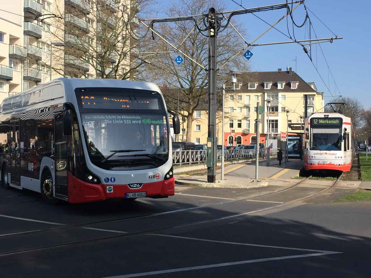 E-Busse im regulären Linienbetrieb gehören zum alltäglichen Bild zwischen Hauptbahnhof und Zollstock.