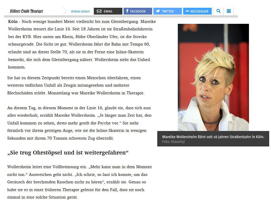 Fahrerin Mareike im Interview / Screenshot www.ksta.de