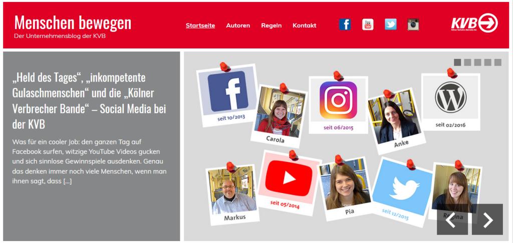 Blogbeitrag der KVB über das KVB Social Media Team