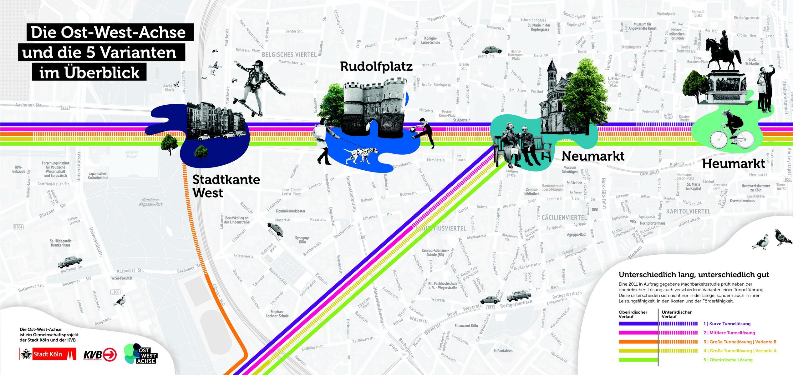 Die fünf möglichen Ausbauvarianten für die Ost-West-Strecke.