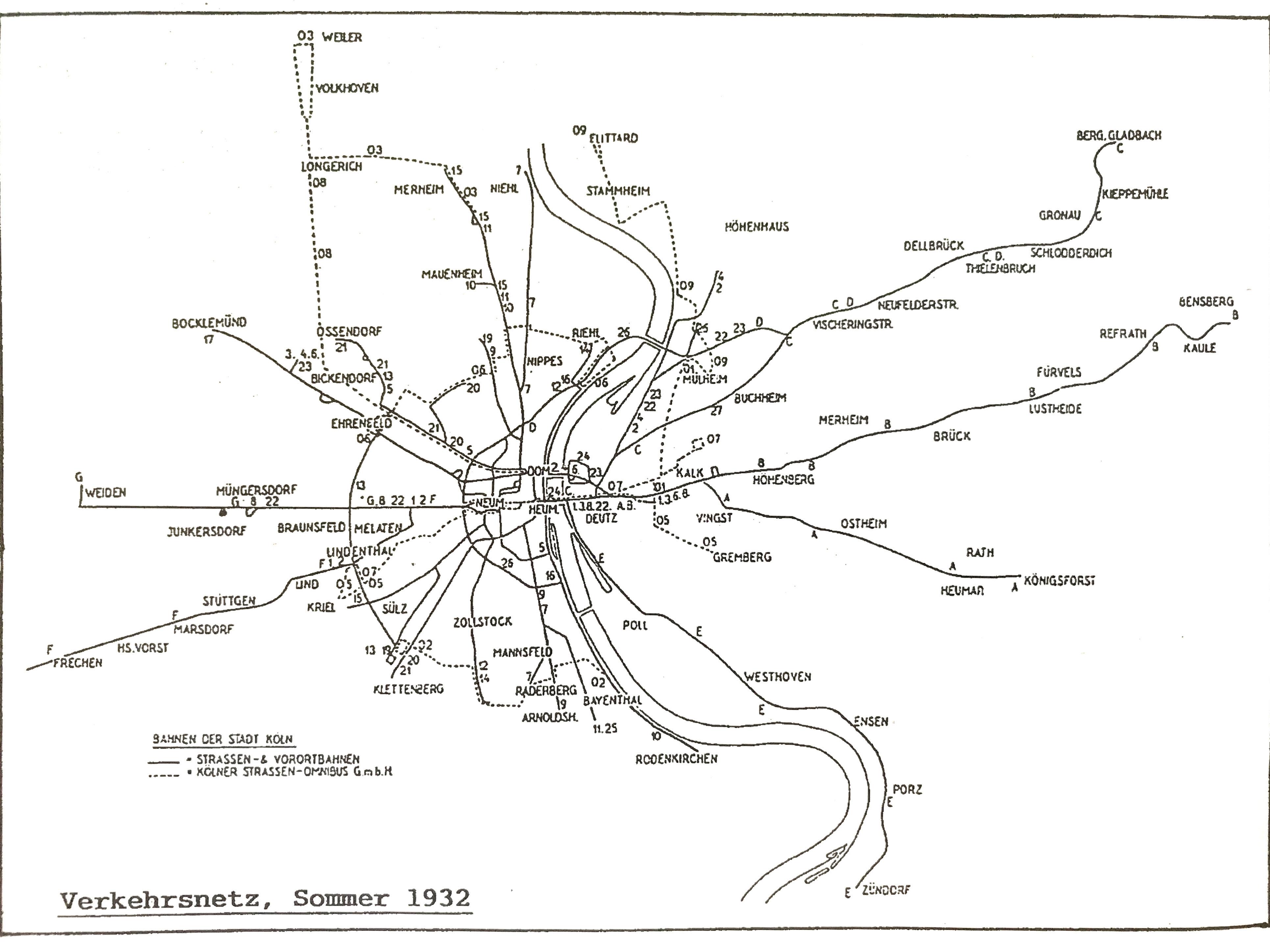 Liniennetzplan von 1932.