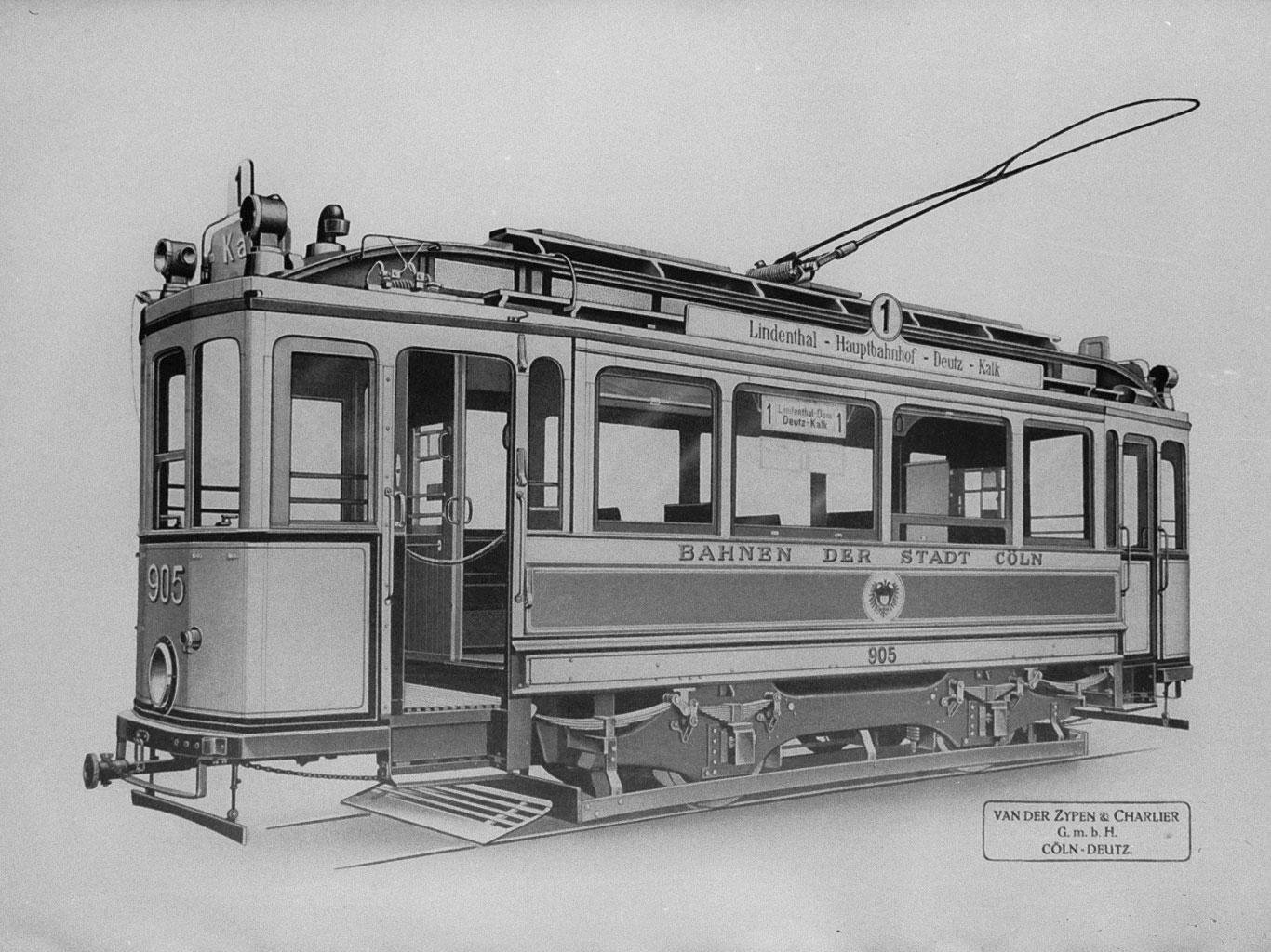 Die erste elektrische Linie 1 fuhr zwischen Lindenthal und Kalk Anfang des 20. Jahrhunderts.